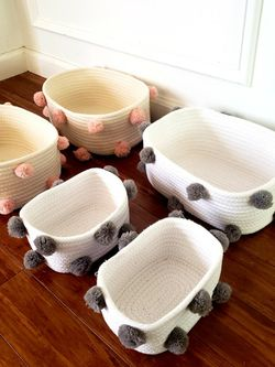 Set of 5 woven storage organization baskets bins cubbies: 2 cream pink pompoms& 3 white grey pompoms- Price For 5! for Sale in Durham,  NC