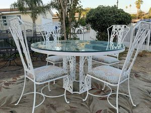 Beautiful early 1950 vintage table frame , with glass top 1/2 inch thick , with matching 4 chairs pick up only for Sale in San Bernardino, CA