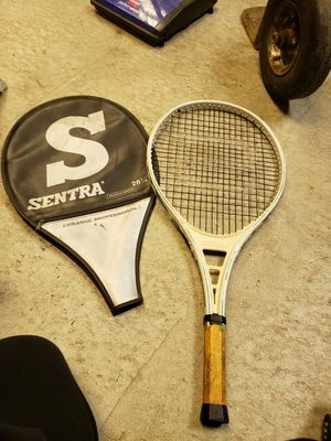 sentra ceramic white panther v graphite strung tennis racket for Sale in Chicago, IL