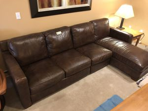 Dark Brown Leather Couch/Chaise for Sale in Kent, WA