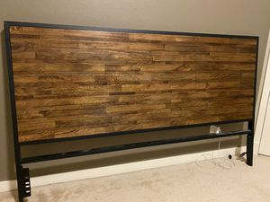 Solid wood king size headboard + Matel bed frame for Sale in Issaquah, WA