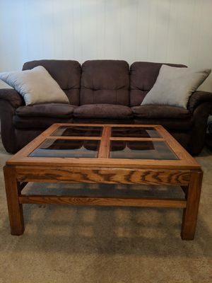 Wood coffee table with glass inserts for Sale in Vienna, VA