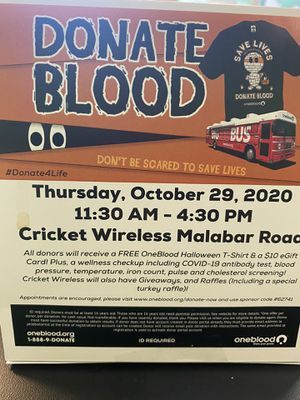 Donate Blood, Get a FREE Tshirt, $10 e-gift card, wellness check, Enter into a raffle to get a FREE phone at Cricket wireless on 190 Malabar rd TODAY! for Sale in Palm Bay, FL