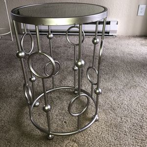 Silver Glass End Table for Sale in Tacoma, WA