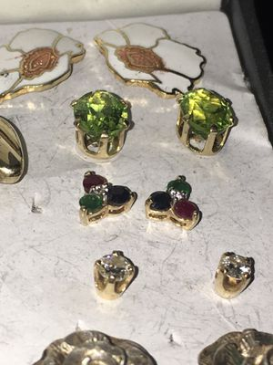 Real diamond, peridot, emerald, ruby, sapphire, gold, and pearl earrings for Sale in Vancouver, WA