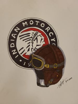 Vintage Indian Motorcycle Logo and Leather Motorcycle Helmet for Sale in Gilmer, TX