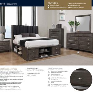 Beautiful Queen Bed Frame & Dresser | Free Delivery for Sale in Renton, WA