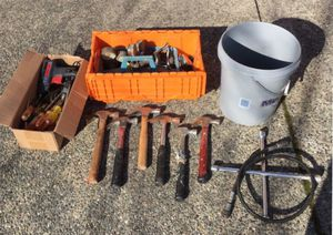 Lot of old tools fixer upper tools hammers screwdrivers tool harness belt and more! See pictures! Fun tools for restoration or projects for Sale in Puyallup, WA