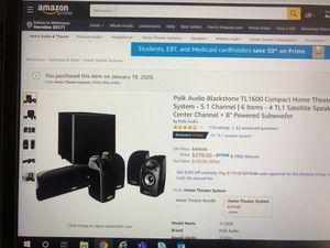 Polk audio black stone TL1600 compact home theater system for Sale in Herndon, VA
