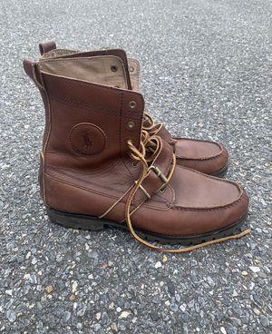 Vintage 90's Polo Ralph Lauren Cookie Ranger Hightop Brown Leather Hiking Outdoor Boots Men's Size 10 for Sale in Laurel, MD