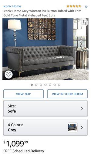 NIB Grey Button Tufted Sofa for Sale in Dublin, OH