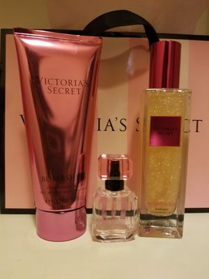 Victoria Secret Bombshell perfume, shimmer oil, and bathgel for Sale in Colton, CA
