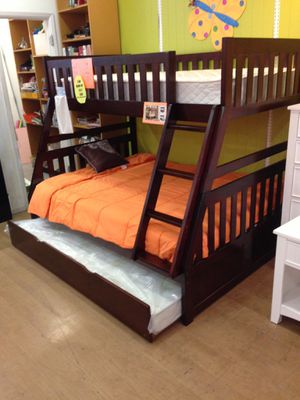 Twin over full bunk bed with trundle color choice for Sale in Tucson, AZ