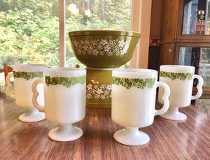 4 Crazy Daisy Spring Blossom Pedestal Milkglass Mugs, 1970s for Sale in Olympia, WA