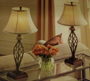 Set of lamps (antique bronze finish with marble fonts) for Sale in Ontario, CA