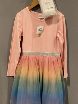 Girls' NWT Hanna Andersson size 100 (US 4) Pink Rainbow-Skirted Tulle Dress & new Rainbow-Knee Ankle Tights size 3-4 for Sale in Phoenix,  AZ