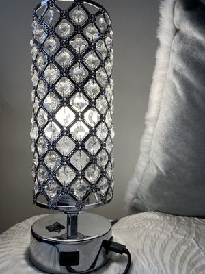 Dual USB port crystal glass fancy luxury light bedside lamp for Sale in Pittsburgh, PA