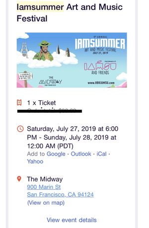 IAMSUMMER ticket for Sale in Livermore, CA