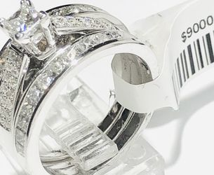 Diamond Engagement 3 Rings / Wedding Set / Anniversary Set 1.62 Carats 14 K White Gold Gemological Institute Lab Appraisal $9000 55%Off Now $3960 for Sale in Fort Lauderdale,  FL