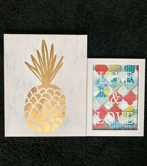 IKEA room canvas golf pineapple decor bundle gold 16x20 for Sale in Virginia Beach, VA