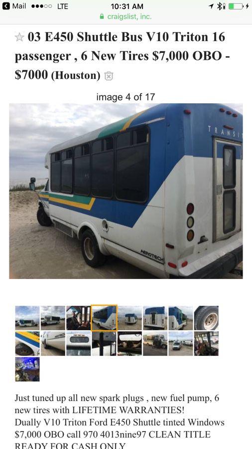 03 E450 Shuttle Bus V10 Triton 16 passenger , 6 New Tires $7,000 OBO! Van  rv work truck for Sale in Evergreen, CO - OfferUp