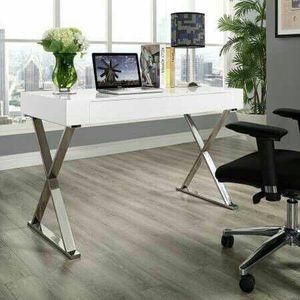 Brand new modern white lacquer desk/ chrome legs new in box for Sale in San Jose, CA
