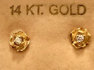 14k Yellow Gold Rose diamond stud earrings for Sale in Portland, OR