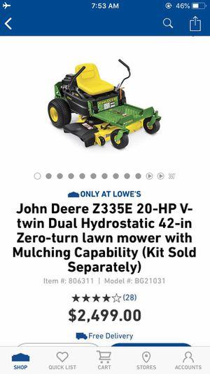 New John Deere Z335E 20-HP V-Twin Dual Hydrostatic 42 Inch Zero Turn Lawn Mower for Sale in Irving, TX