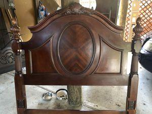Queen Size Solid Oak Headboard, Footboard, Frame & Mirror for Sale in Lanoka Harbor, NJ