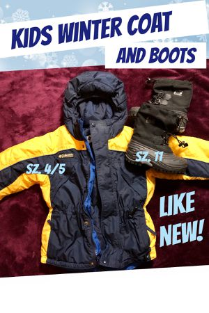 Kids Sz. 4/5 Winter Coat and Sz. 11 Snow Boots for Sale in Las Vegas, NV