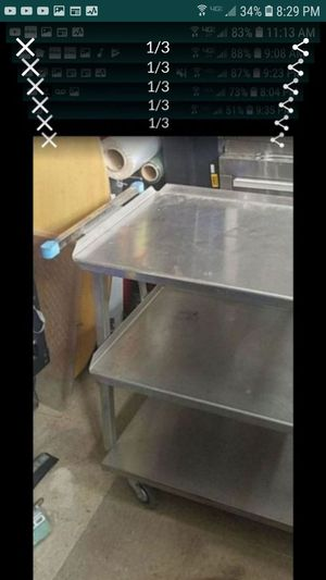 3 tier commercial stainless steel cart great for catering mechanics handyman electricians for Sale in Tracy, CA