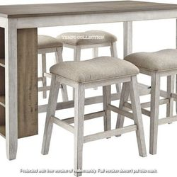 NEW, WHITE/LIGHT BROWN 5 PC RECT COUNTER TABLE WITH STORAGE AND 4 STOOLS. for Sale in Ontario,  CA