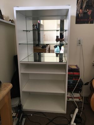 Narrow White Bookcase with Mirror Back for Sale in Berkeley, CA