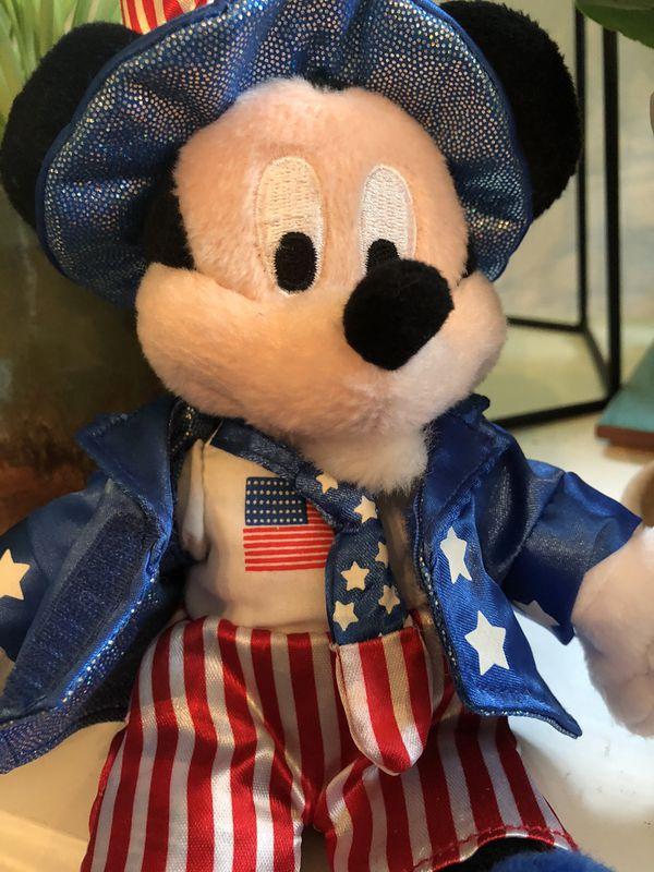 Walt Disney World Mickey Mouse • Uncle Sam Plush Bean Bag Figurine 2004