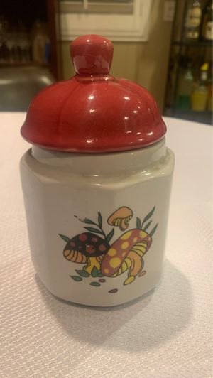 Ceramic canister jar home decor mushrooms for Sale in Moreno Valley, CA
