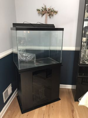 55 gallon fish tank with black stand for Sale in Franklin Township, NJ