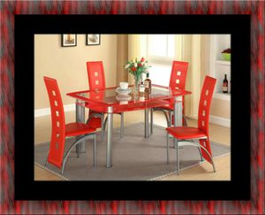 Glass red dining table with leather chairs for Sale in Fairfax, VA