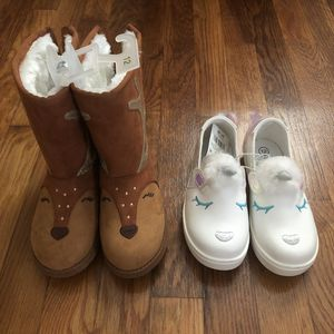 Lot of size 12 girls fur lined boots and unicorn sneakers, new for Sale in Chesapeake, VA