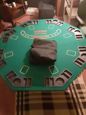 8 persons poker wooden felt table topper portable for Sale in Columbus, OH