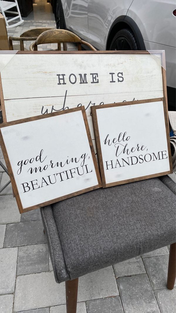 Hello there handsome good morning beautiful custom wood sign