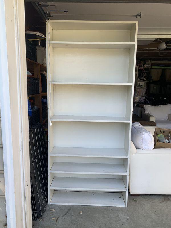 Solid wood bookshelf w/ top light