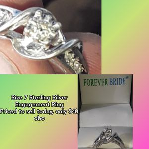 Size 7 Sterling Silver Engagement Ring for Sale in Lake City, MI