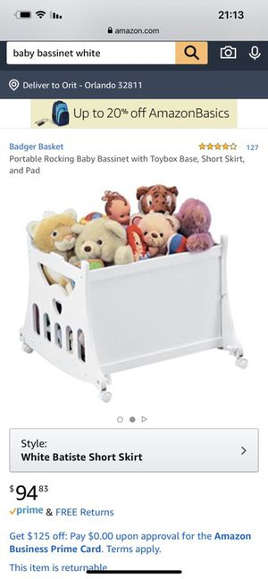 Portable Rocking Baby Bassinet with Toybox Base, Short Skirt, and Pad for Sale in Orlando, FL