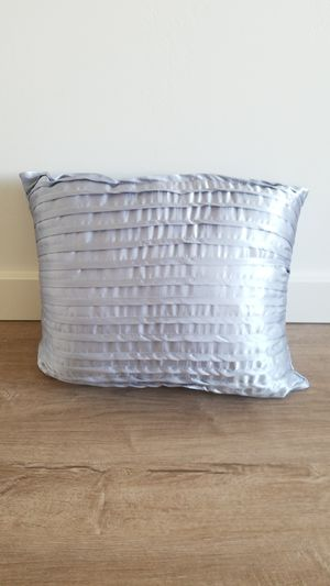 Two small decorative rectangular icy blue/silver satin ruffled throw pillow for Sale in Medford, OR