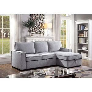 GREY LINEN LIKE FABRIC SECTIONAL SOFA STORAGE CHAISE ADJUSTABLE BED / SILLON CAMA for Sale in Moreno Valley, CA