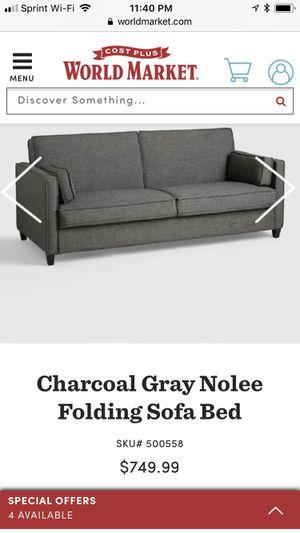 Like new World Market charcoal gray sleeper sofa (futon style) for Sale in Nashville, TN