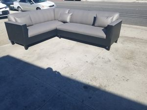 NEW 7X9FT GREY LEATHER COMBO SECTIONAL COUCHES for Sale in Perris, CA
