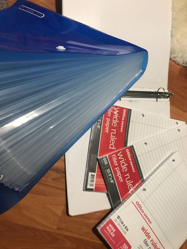 3 filler paper+2 binders+Sticker+standard staples+hole puncher+lamp