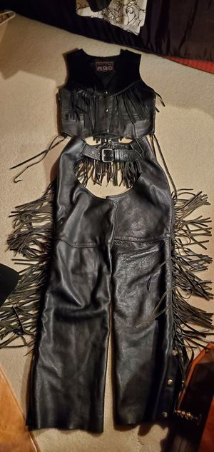 Leather woman vest and chaps xs for Sale in Monroe, WA