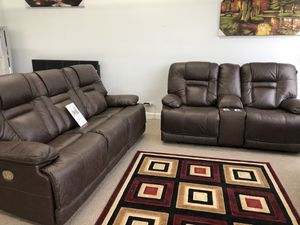 Genuine leather power recliner power headrest power lumber with usb sofa and loveseat for Sale in Elgin, IL